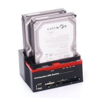 "Dual Bay 2.5""/3.5"" SATA IDE External Hard Disk Drive HDD Docking Station OTB with USB 2.0 HUB Card Reader (Black) - Intl"