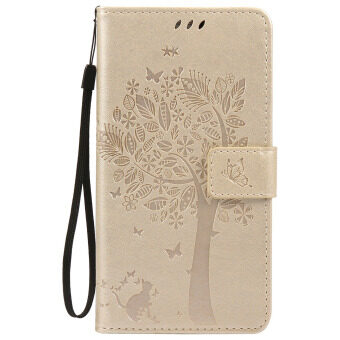 SZYT Phone Case for Samsung Galaxy Note 3 / Samsung Galaxy N9006, Imprint Pattern Cat and Tree with Black Handle Gold - intl