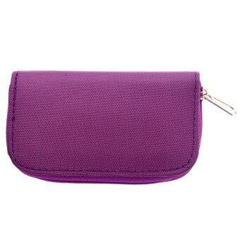 Portable 22 Slots Micro SD Memory Card Holder Zippered Bag (Purple)