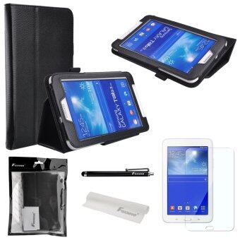 4-in-1 Litchi Texture PU Flip Case Cover Stand Set for Samsung Galaxy Tab 3 Lite 7.0 T110 /T111 Black