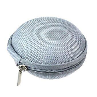 Mini Zipper Earphone Headphone SD Card Storage Bag Box Carrying Pouch (Silver)
