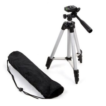 JC Gadget ขาตั้งกล้อง Tripod รุ่น TF-3110 (Sliver) แถมฟรี หัวต่อสำหรับมือถือ และเลนส์ 3 in 1 ( คละสี ) (image 1)