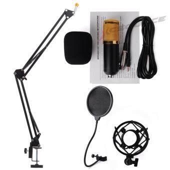 XCSource ไมค์โครโฟน พร้อม ขาตั้งไมค์โครโฟน และอุปกรณ์เสริม (สีดำ)