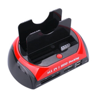 USB 2.0 Dual HDD Hard Drive Disk Docking Station OTB US Plug Card Reader (Black and red) - intl