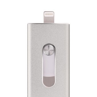 128GB USB Flash Drive For iOS/Android/Computer 3IN1 Mobile Flash Disk Stainless Steel Gift Pen Drive(Silver) - intl