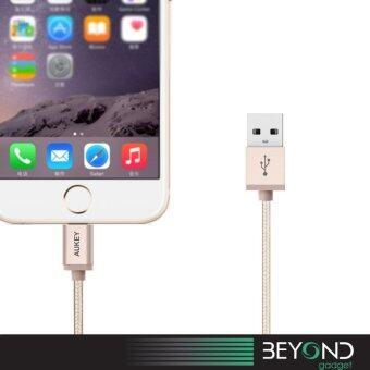 [Upgraded] APPLE Certified Aukey 1.2 m Braided Lightning USB Cable สายชาร์จ/สายซิงค์/สายเคเบิ้ล/สายถักไนล่อนคุณภาพสูง MFI สีทอง (image 3)