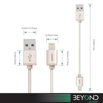 [Upgraded] APPLE Certified Aukey 1.2 m Braided Lightning USB Cable สายชาร์จ/สายซิงค์/สายเคเบิ้ล/สายถักไนล่อนคุณภาพสูง MFI สีทอง (image 4)