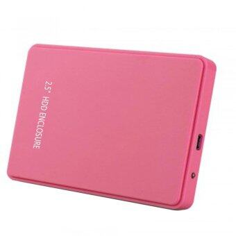 """xfsmy 2.5 Inch USB 2.0 Hard Drive Disk HDD External Enclosure Case For 9.5mm 7mm 2.5"""" SATA HDD And SSD, Tool-free (Pink)"""