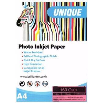 ยูนิค กระดาษปริ้นรูป UNIQUE GLOSSY 1ุ60แกรม กันน้ำ กันUV ขนาดA4 100แผ่น (White)