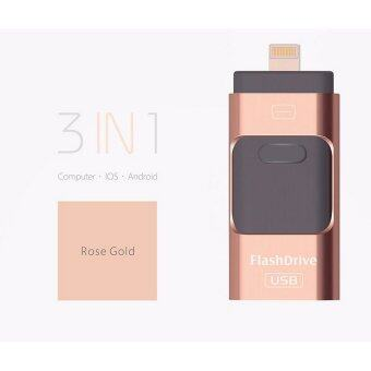 128GB iFlash Drive HD U-Disk Micro USB 3 in 1 for Android/iPhone5/6/5s/6Plus iPad iPod/PC/MAC(Rose gold) - intl