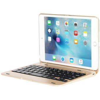 สลิม iPad Mini 4 เคสกับแป้นพิมพ์แป้นพิมพ์บลูทูธไร้สายอะลูมิเนียมแผ่นเปลือกปิดเคสบูธเก๋สำหรับ Apple iPad Mini 4th ทอง