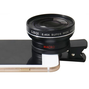 LIEQI LQ-027 2 in 1 เลนส์ครอบกล้องมือถือ super Wide Angle Lens 10X Macro Lens Camera Lens for iPhone iPad Samsung S6 S7 S7 edge Smartphone ดำ