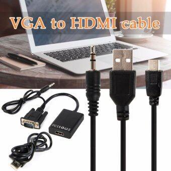 ตัวแปลง Hd 1080p VGA to Hdmi Adapter Tv Av Hdtv Video Cable with Audio สำหรับ Laptop