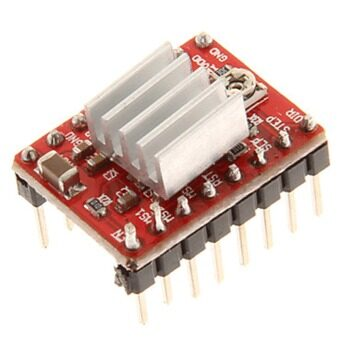 HF-A4988 Stepper Motor Driver Module for 3D Printer With Heat Sink - Red Black