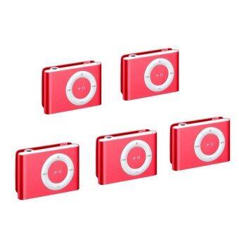 Best Mini Clip MP3 Player Music Speaker เครื่องเล่น MP3 ขนาดพกพา - Red (5pcs)