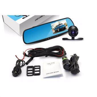 กล้องติดรถยนต์แบบกระจกมองหลังพร้อมกล้องติดท้ายรถ FHD1080P สีดำฟรีMicro SD