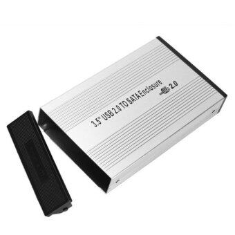 3.5 Inch Silver USB 2.0 SATA External HDD HD Hard Drive Enclosure Case Box (Silver)