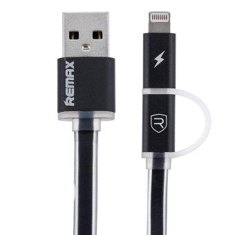 Remax สายชาร์จ Aurora High Speed Cable 2-in-1 for Mirco USB/iPhone 5 (Black)