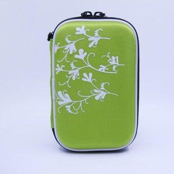 2.5 Inch Universal External Hard Drive Disk USB Cable Carry Case Cover Bag Pouch With Flower Pattern For PC Tablet Green - intl