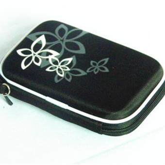 2.5 Inch Universal External Hard Drive Disk USB Cable Carry Case Cover Bag Pouch With Flower Pattern For PC Tablet Black - intl
