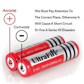 4 x UltraFire 18650 lithium battery 4800 mA Rechargeable Battery 4 ก้อน ถ่านชาร์จ ถ่านไฟฉาย แบตเตอรี่ไฟฉาย แบตเตอรี่ อเนกประสงค์ ขนาด 4800 mA รุ่น 18650-Red-B4-F2 สำหรับ ไฟฉาย, อุปกรณ์รักษาความปลอดภัย, Floodlight + แถม Li-ion Battery Universal Charger (image 3)