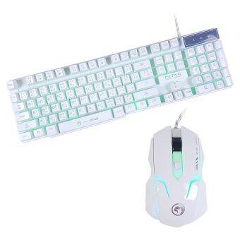MARVO KM406 Set SEMI Mechanical Keyboard+Mouseชุด คีย์บอร์ด+เมาส์ ไฟ3สี(ขาว)