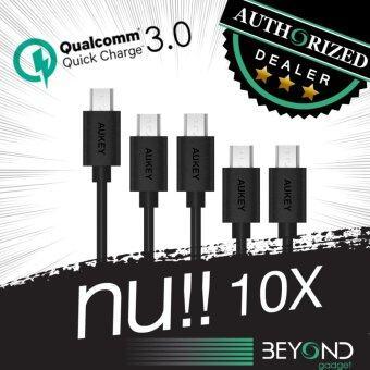 [Upgraded]Aukey Quick Charge 3.0+2.0 Compatible Micro 2.0 USB Cable สายชาร์จ/สายซิงค์ รองรับการชาร์จไวจากระบบ Fast Charge Qualcomn QC3.0+2.0 ยาว 1.2 เมตร สีดำ (แพ็ค 5 เส้น: 2m x 1 1.2m x 2 0.3m x 2) สีดำ