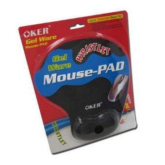 OKER แผ่นรองเม้าส์พร้อมเจลรองข้อมือ Mouse Pad with Gel Wrist Support (สีดำ)