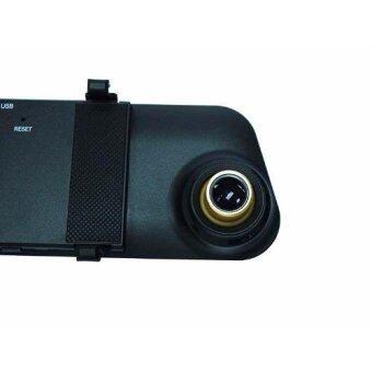PK TECHกล้องติดรถยนต์แบบกระจกมองหลังพร้อมกล้องติดท้ายรถ1080P สีดำขอบทองแถมฟรี เม็มโมรี่การ์ด8GBราคา390บาทBlack
