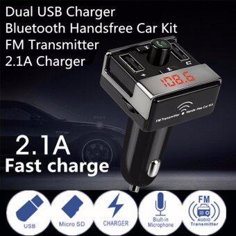 ประเทศไทย JJ บลูทูธเครื่องส่งสัญญาณ FM ในรถยนต์รถยนต์เล่น MP3 กับชาร์จรถ USB จอแสดงผล LED และสองบรรทัดในการทำงาน A7 ( สีดำ )
