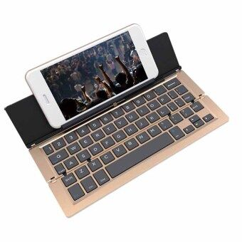 keyboard Bluetooth F18 GOLD คีย์บอร์ด บลูทูธ ไร้สาย แถมฟรี สติคเกอร์คีย์บอร์ดพีวีซี ไทย อังกฤษWireless Keyboard Bluetooth For Windows For Android For iOS