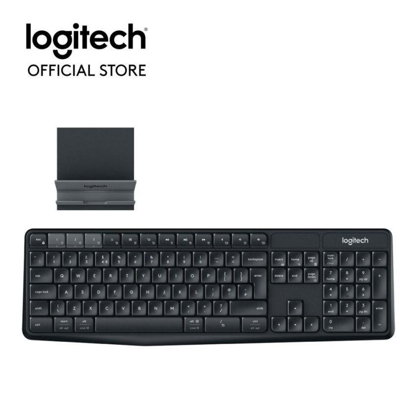 Logitech K375s Multi-Device Wireless Keyboard and Stand Combo (พร้อมแท่นวาง) Thai Keyboard(Black)