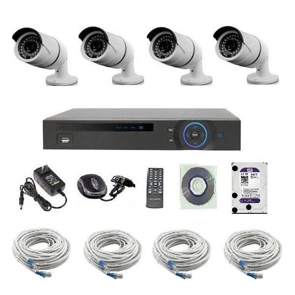 Mastersat ชุดกล้องวงจรปิด CCTV IP Camera 1 MP 4 จุด มีระบบ NVR POE ในตัว 48V. พร้อมสายแลน และ HDD ใช้ได้ไกล 100 เมตร