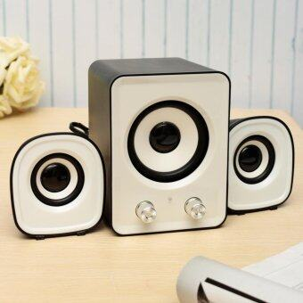 Mini Computer Speaker 2.1 Multimedia Stereo Desktop Portable USB Subwoofer 5V White - intl