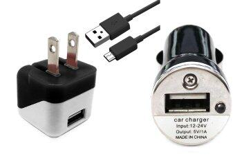 Mini USB Home Wall + Car Charger + 3 Ft Micro USB Data Sync / Battery Charge Cable for Nokia Mural 6750 - Black