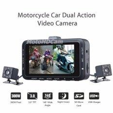 Motohdcam กล้องติดรถมอเตอร์ไซค์ รุ่น Cj300w Black กล้องหน้า-หลัง 2ch ราคา 3,200 บาท(-18%)