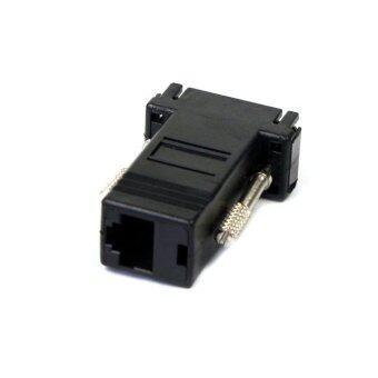 New VGA Extender Male To Lan Cat5 Cat5e RJ45 Ethernet Female Adapter Black