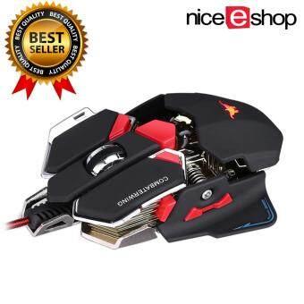 niceEshop เมาส์สำหรับเล่นเกมส์แบบสามารถโปรแกรมได้ 10 ปุ่ม Combaterwing 4800 dpi ของเมาส์ไร้สายสำหรับเล่นเกมมืออาชีพ สีดำ