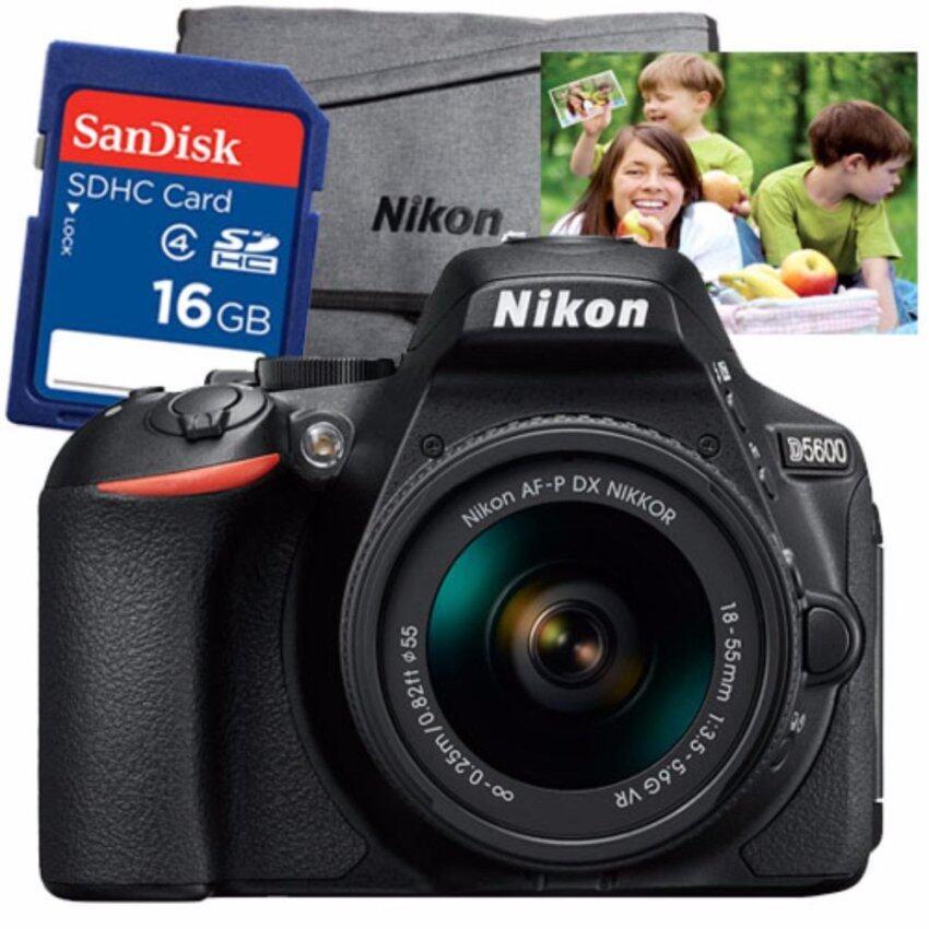 """Nikon D5600 kit AF-P18-55mm. + SD Card 16 GB (มูลค่า790บาท) + กระเป๋า Nikon (มูลค่า990บาท) + คูปองขยายภาพขนาด 20""""x30"""" 1ใบ (มูลค่า600บาท)"""