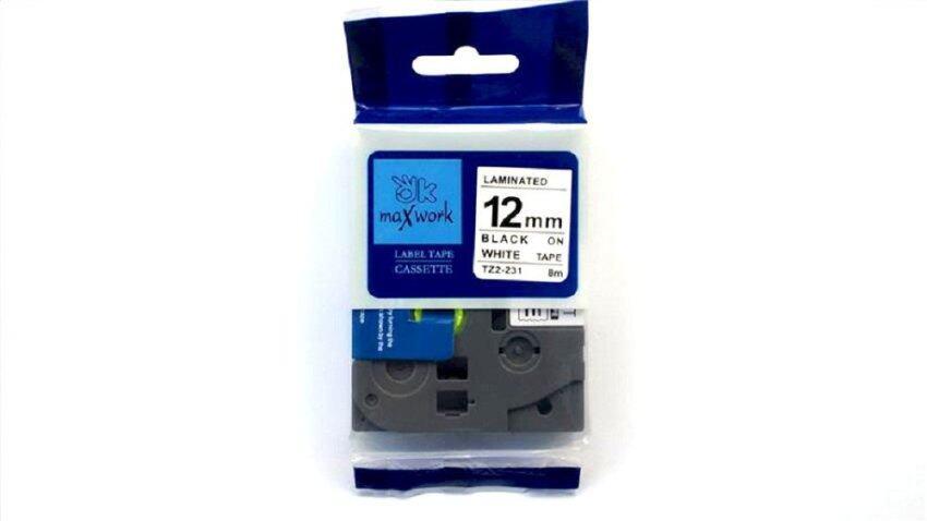 เทปพิมพ์อักษร OK MAXWORK 12 mm TZE Brother TZE-231(TZ2-231)  พื้นสีขาว ตัวอักษรสีดำ