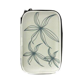 ซื้อ/ขาย กระเป๋า Portable Shockproof 2.5 Inch HDD Hard Drive Protective Case Bag Pouch Organizer with Flower Texture (สีเทา)