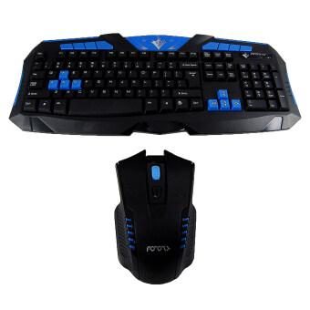 Pro Gamer แป้นพิมพ์ไร้สาย + เม้าส์ไร้สายแพ็คคู่คอมโบไร้สาย ภาษาอังกฤษ 2.4Ghz (Black/Blue)