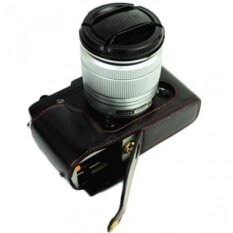 Real Leather Half Camera Case Cover With Tripoddesignforfujifilmfuji X Series Xe2 X-E2 Camera With Pu Leatherhandstrap(black &nb - Intl ราคา 858 บาท(-33%)