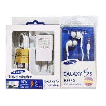 Samsung ชุดหูฟังสำหรับ galaxy S6 แพ็คคู่ 2 ชิ้น สีดำ +สีขาว