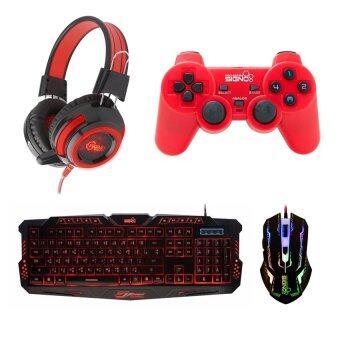 SIGNO ชุด คีย์บอร์ด + หูฟัง + จอย + เมาส์ รุ่น KB-719,HP-805,GP-801,GM-910 (สีดำ/สีแดง)
