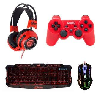 SIGNO ชุด คีย์บอร์ด + หูฟัง + จอย + เมาส์ รุ่น KB-719,HP-806,GP-801,GM-910 (สีดำ/สีแดง/สีแดง/สีดำ)