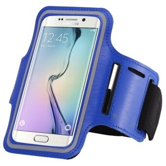 Sport Arm Band Case Gym Waterproof PU Leather Phone Cover for Samsung Galaxy S6 Edge G9250 (Blue)