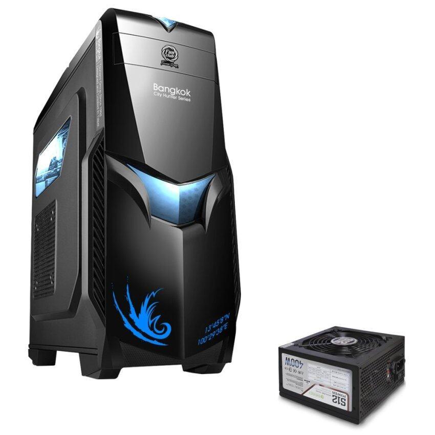 Tsunami City Hunter Bangkok Series USB 3.0 Gaming Case BLACK BLUE+ Seed S12-400W Power Supply ATX