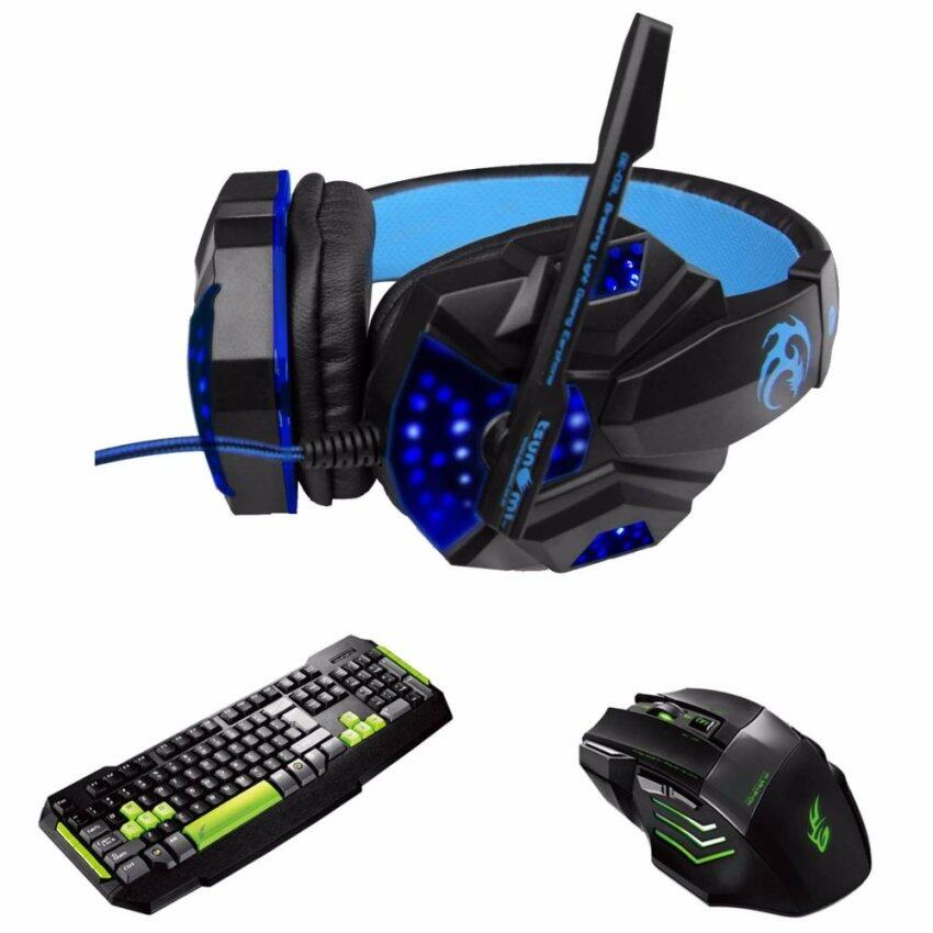 Tsunami Professional Gaming Combo Monster Series Headphones + Keyboard + Mouse 3in1 Kit (Blue/Green)