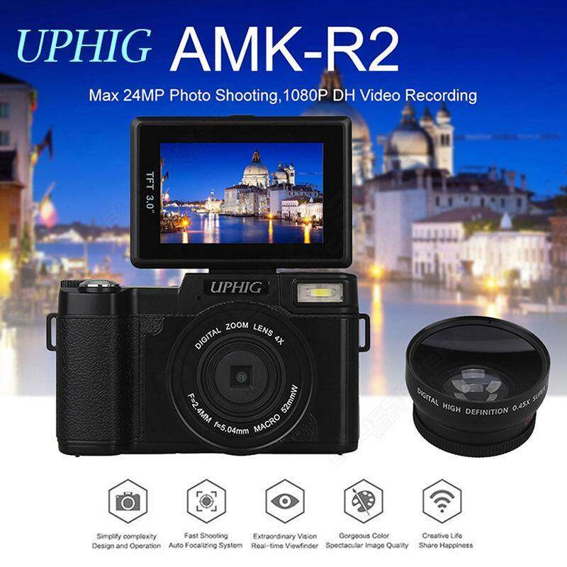 UPHIG AMK-R2 24MP HD 1080P 180 Rotatable Screen Portable Digital Cameras +Lens - intl